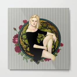 Stitched Up Pinup Metal Print
