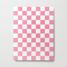 Checkered - White and Flamingo Pink Metal Print