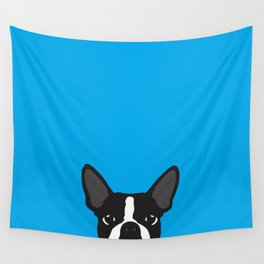 Boston Terrier Blue Wall Tapestry