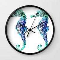 sea horse Wall Clocks featuring Sea Horse by LebensART