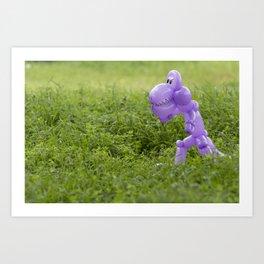 Purple Balloon Animal Dinosaur in Green Grass Art Print