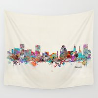 maryland Wall Tapestries featuring Baltimore Maryland skyline by bri.buckley