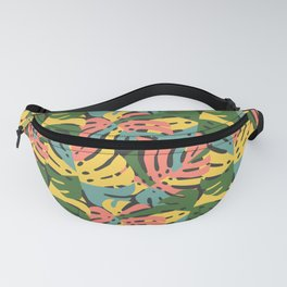 Color Blocked Monstera Leaves - Bold Fanny Pack