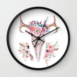 Deer skull with feathers and flowers Wall Clock