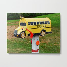 School Bus Mailbox Metal Print