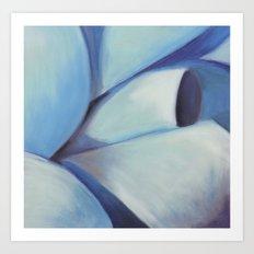 Blue Ribbon - Pastel Illustration Art Print