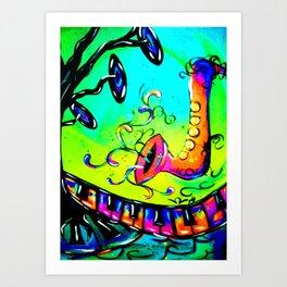 Electric funky music Art Print