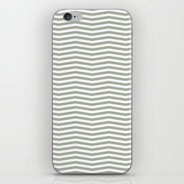 Desert Sage Grey Green and White Chevron Stripe iPhone Skin