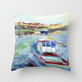 Sea harbor and boat Throw Pillow