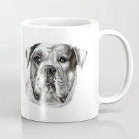 bulldog Mugs featuring Bulldog by Danguole Serstinskaja