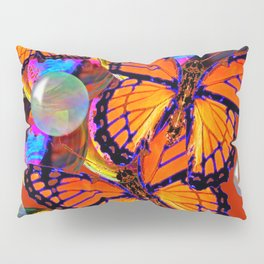 DECORATIVE MONARCH BUTTERFLIES & SOAP BUBBLES  ON TURMERIC  COLOR ART Pillow Sham