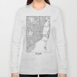 Miami White Map Long Sleeve T-shirt