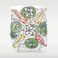 sia Shower Curtains featuring Koi Pond Gathering by Vermont Greetings
