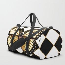 WHITE MONARCH BUTTERFLY & BLACK DIAMONDS Duffle Bag
