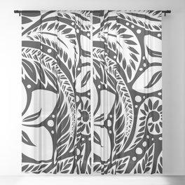 Circular Polynesian White Floral Tattoo Sheer Curtain