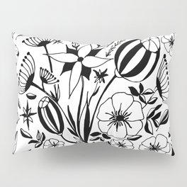 Black and white floral bouquet, hand-drawn Pillow Sham