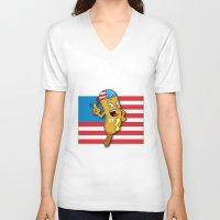 chad wys V-neck T-shirts featuring Chad the Ornery Corndog by Alex Dutton