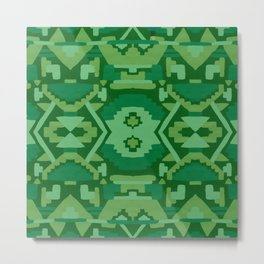 Geometric Aztec in Forest Green Metal Print