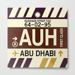 AUH Abu Dhabi • Airport Code and Vintage Baggage Tag Design Metal Print