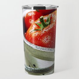 fresh tomatoes (in metal colander) and herbs on a wooden table Travel Mug