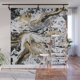 Black White and Gold Fluid Abstract Wall Mural