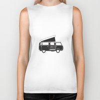 vw bus Biker Tanks featuring VW bus by kirsten bingham