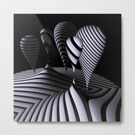 mirrored globs in OpArt-design Metal Print
