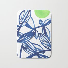 Navy blue and lime green abstract leaves Bath Mat