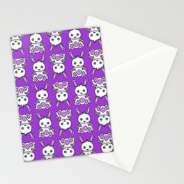 Kawaii Purple Bunny Pattern Stationery Cards