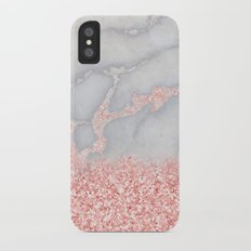 Sparkly Pink Rose Gold Ombre Bohemian Marble iPhone X Slim Case