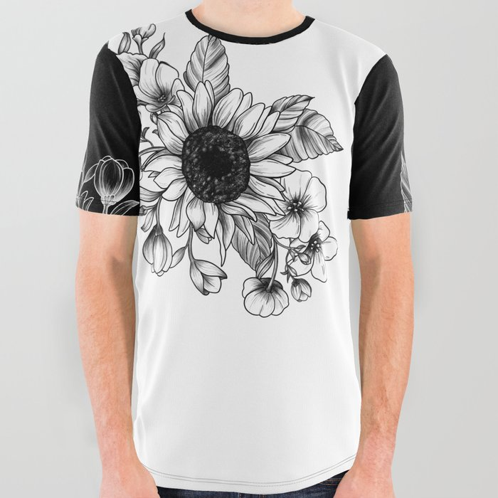 Bouquet_of_Flowers_with_Sunflower__Fall_floral_lineart_All_Over_Graphic_Tee_by_miaubetty__Large