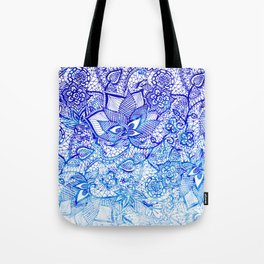 Modern china blue ombre watercolor floral lace hand drawn illustration Tote Bag