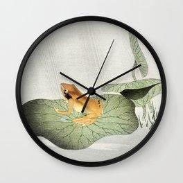 Ohara Koson, Frog On Lotus Leaf - Vintage Japanese Woodblock Print Art Wall Clock