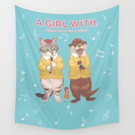 A GIRL WITH CAT and OFTER. Wall Tapestry