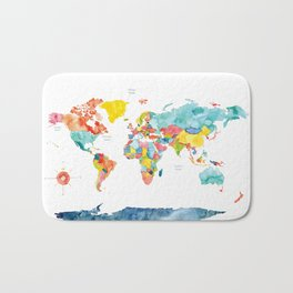 World Map Bath Mat