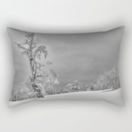 Solitary Snowy Tree in Black and White - Landscape Photography Rectangular Pillow