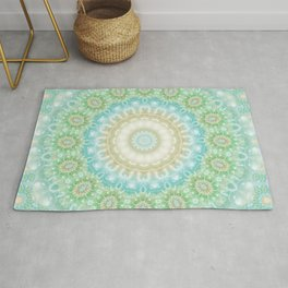 Earth and Sky Mandala in Pastel Blue and Green Rug