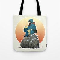 nausicaa Tote Bags featuring Nausicaa & baby Ohmu taking a break... by kamonkey
