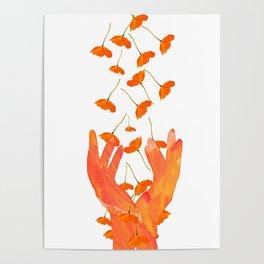 Wonderful Poppy Flowers Orange Coral Color White Background #decor #sociey6 #buyart Poster