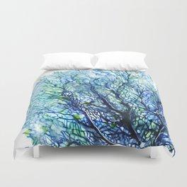 Fan Coral - Aqua Duvet Cover