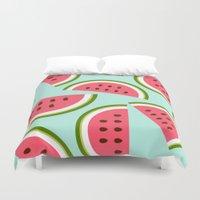 watermelon Duvet Covers featuring Watermelon by Cute Cute Cute