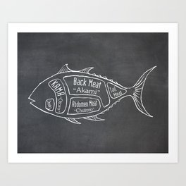 Tuna Butcher Diagram (Seafood Meat Chart) Art Print