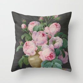 Pierre Joseph Redouté - Pink Roses in a Vase Throw Pillow
