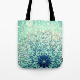 Mandala in Sea Green and Blue Tote Bag