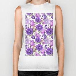 Violet lilac pink watercolor botanical roses floral Biker Tank