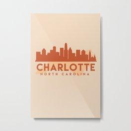 CHARLOTTE NORTH CAROLINA CITY MAP SKYLINE EARTH TONES Metal Print
