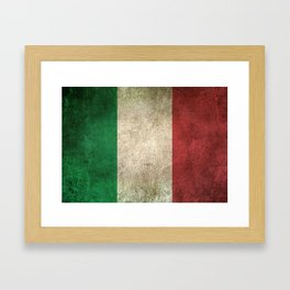 Old and Worn Distressed Vintage Flag of Italy Framed Art Print