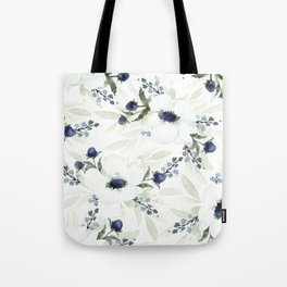 Watercolor Anemone and Thistle Tote Bag