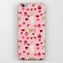 Akita valentines day cupcakes dog breed hearts pet portrait akitas pet friendly iPhone Skin