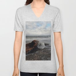 Driftwood And Ice in Spring Unisex V-Neck